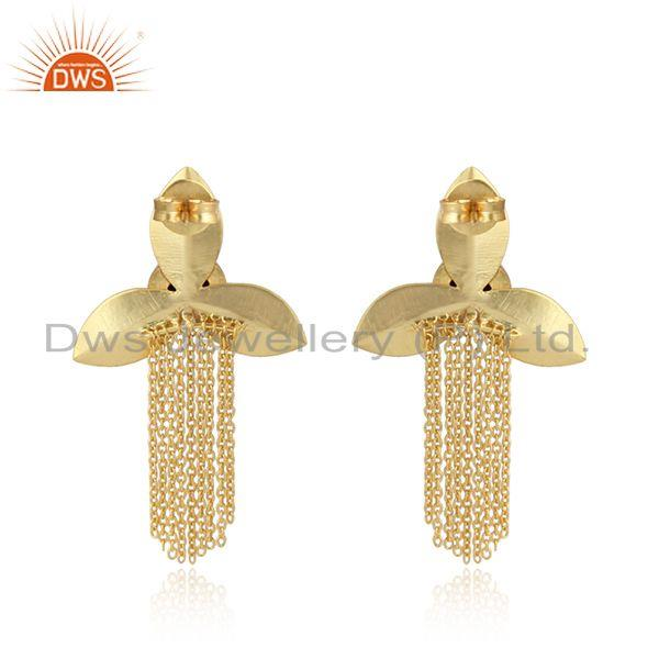 Designer of Chandelier leaf design lapis fashion earrings with yellow gold on