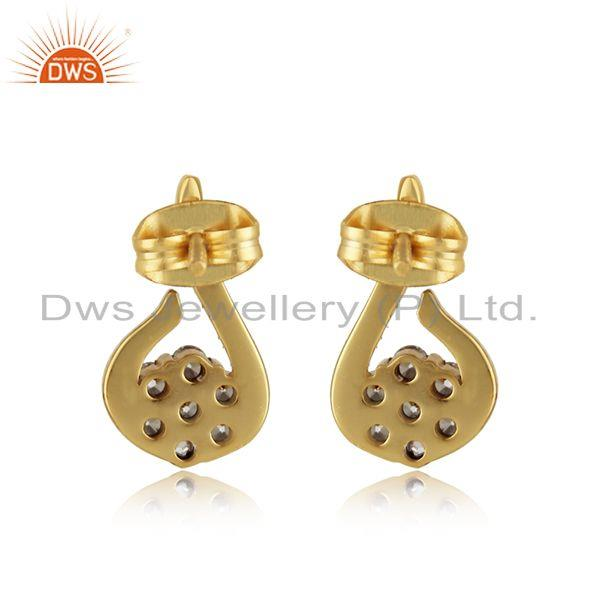 Designer of Designer petite fashion studs with yellow gold plating and cz
