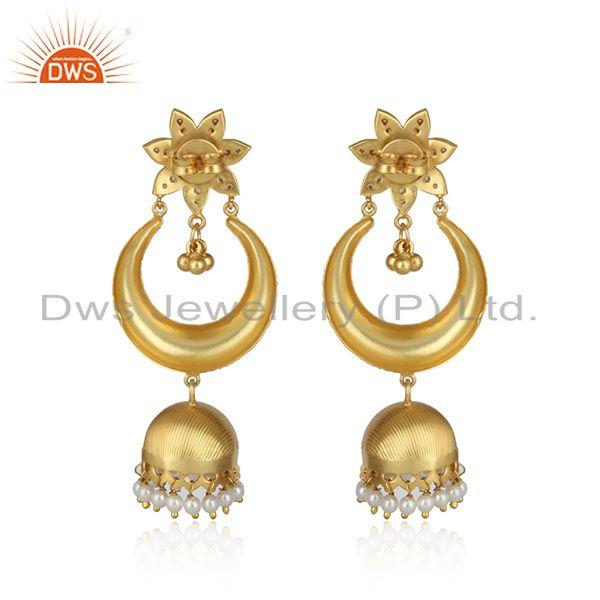 Designer of Traditional design gold on fashion jhumka pearl green onyx and cz