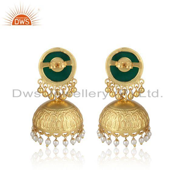Designer of Traditional fashion gold on jhumka with green onyx dangling pearls