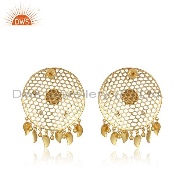 Designer of Designer honeycomb yellow gold on fashion large earring with cz