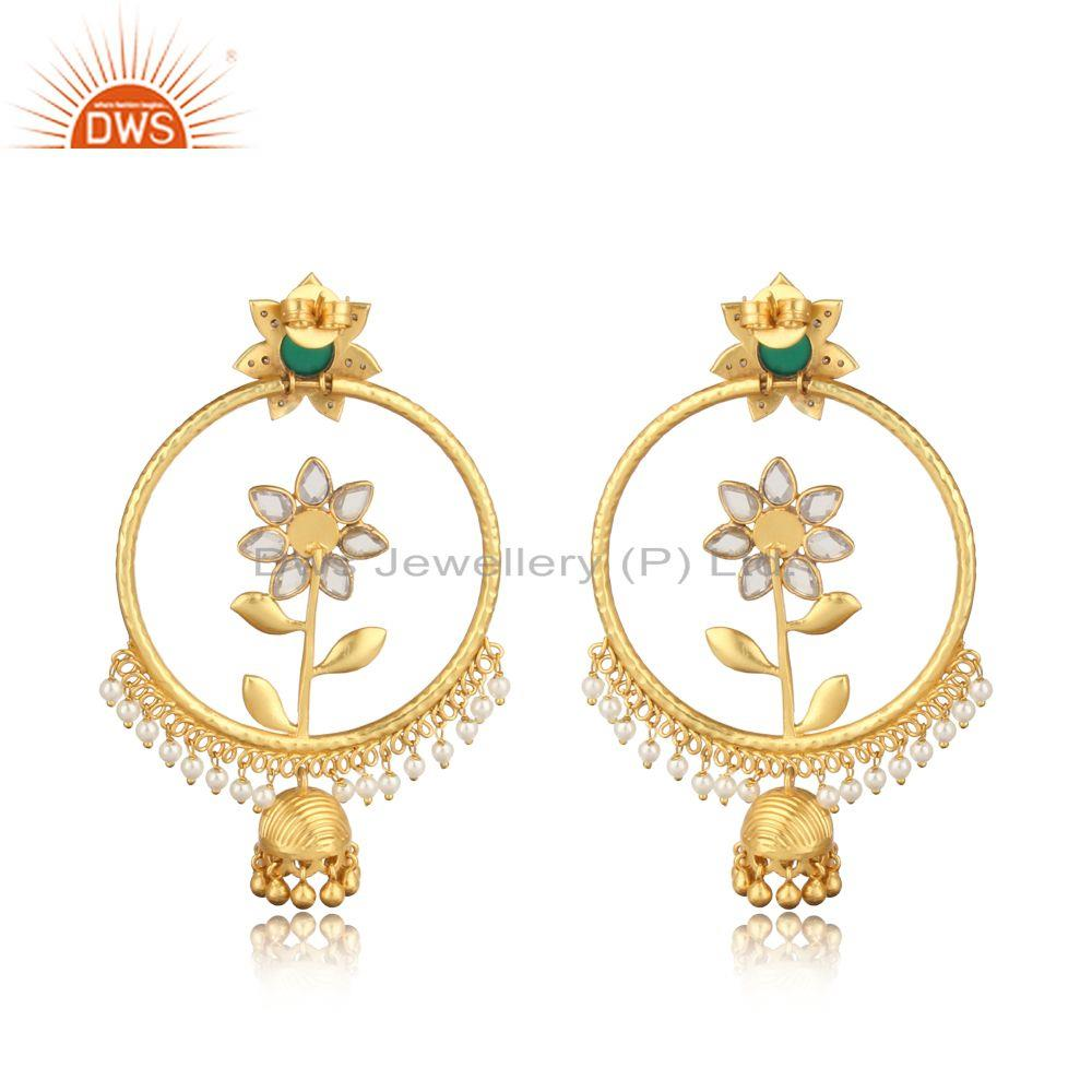 Designer of Floral design gold on fashion jhumka with pearl, green onyx, cz