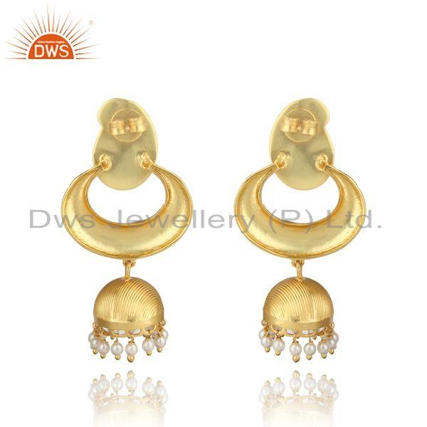 Designer of Traditional designer yellow gold on fashion jhumka with pearls