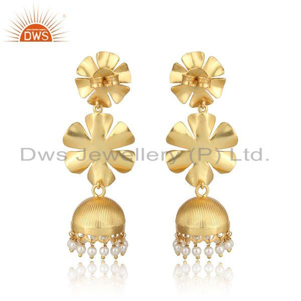 Designer of Textured floral designer gold on fashion jhumka with pearl and cz