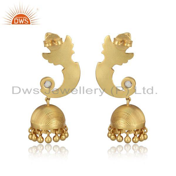 Designer of Textured designer gold on traditional fashion jhumka with pearls