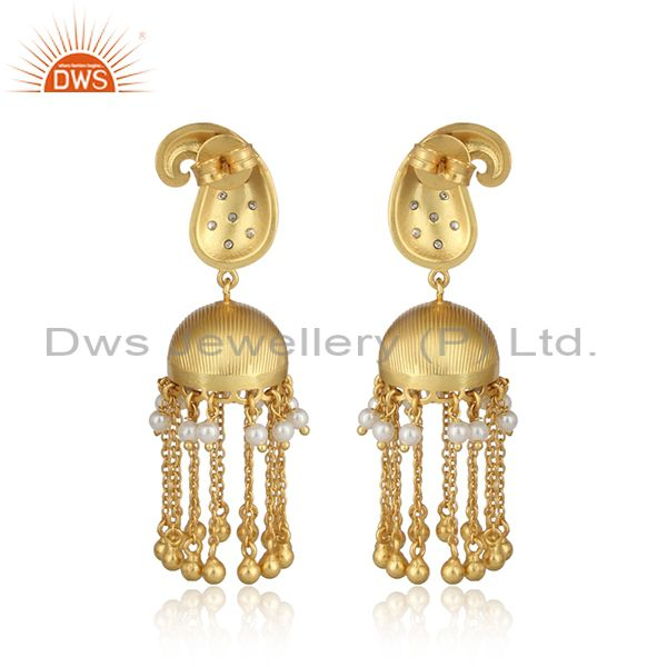 Designer of Traditional gold on long chain fashion jhumka with pearls and cz
