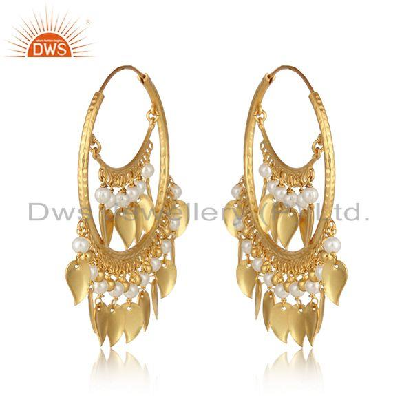 Designer of Traditional pearl yellow gold on chand bali fashion hoop earrings