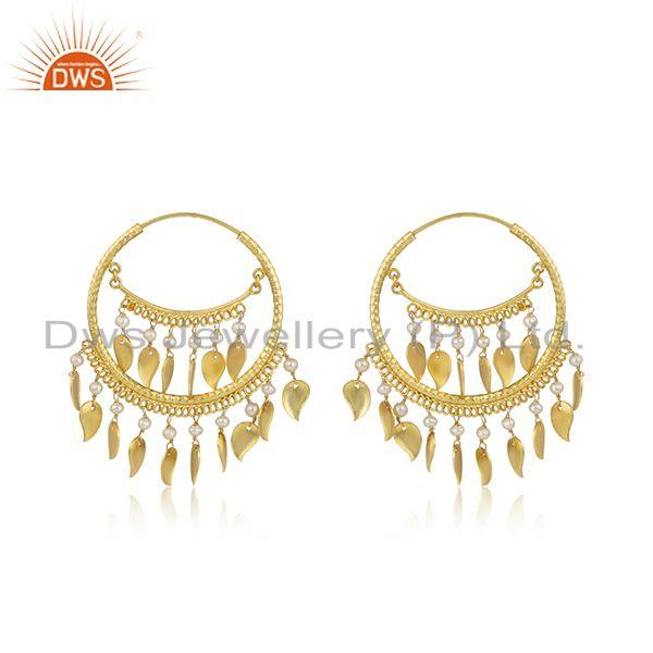 Designer of Traditional chand bali design pearl yellow gold on silver earrings
