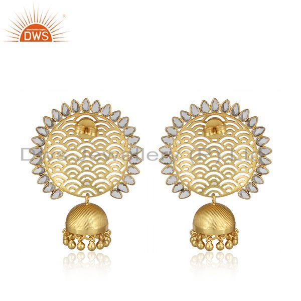 Designer of Designer filigree yellow gold on large fashion earring with pearls