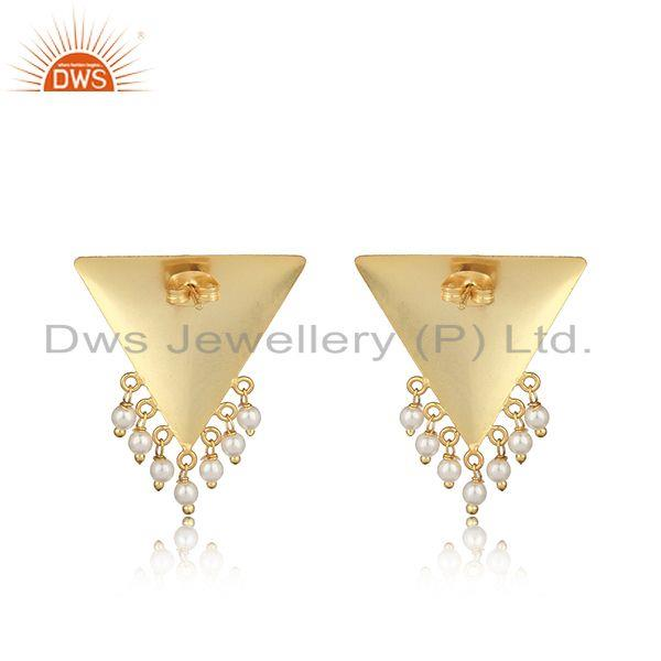 Designer of Handmade designer yellow gold on fashion earring with pearl