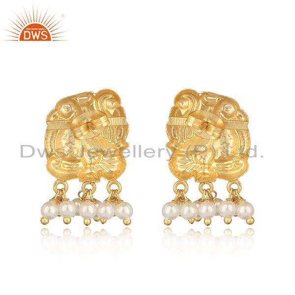Designer of Traditional designer yellow gold on fashion earring with pearl