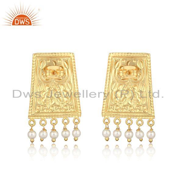 Designer of Traditional textured yellow gold on fashion earring with pearl