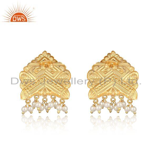 Designer of Handcrafted traditional yellow gold on fashion earring with pearl