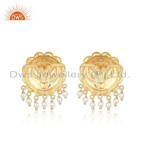 Designer of Floral designer fashion earring in yellow gold on with pearls