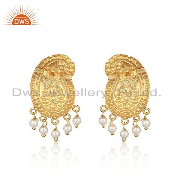Designer of Designer traditional yellow gold on fashion earrings with pearls