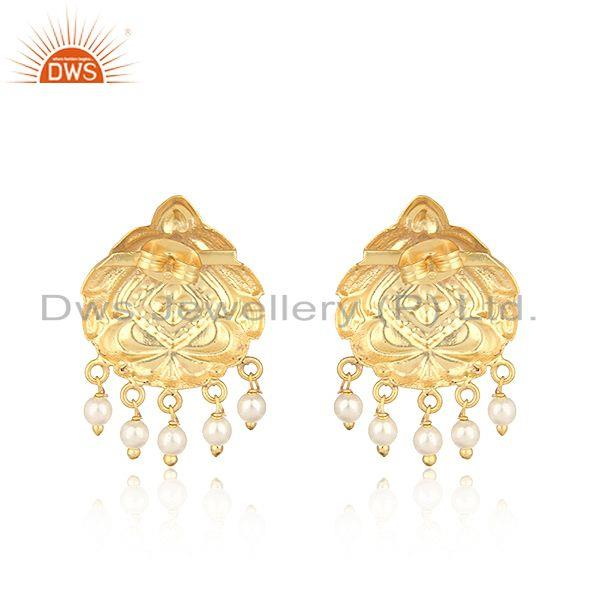 Designer of Handmade traditional designer gold on fashion earrings with pearl
