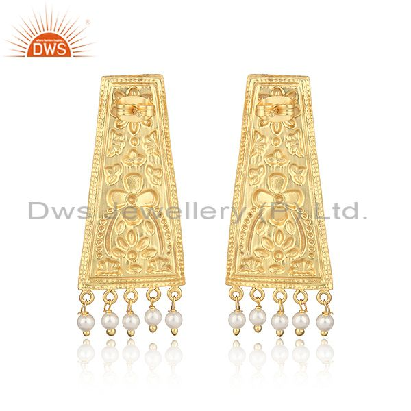 Designer of Designer textured yellow gold on fashion earring with dangle pearl