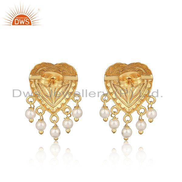 Designer of Handcrafted heart designer gold on fashion earring with pearls