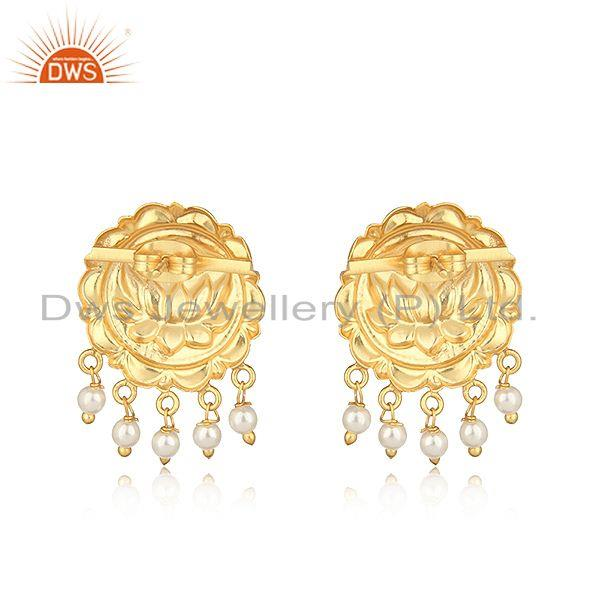 Designer of Handcrafted floral design yellow gold on fashion earring with pearl