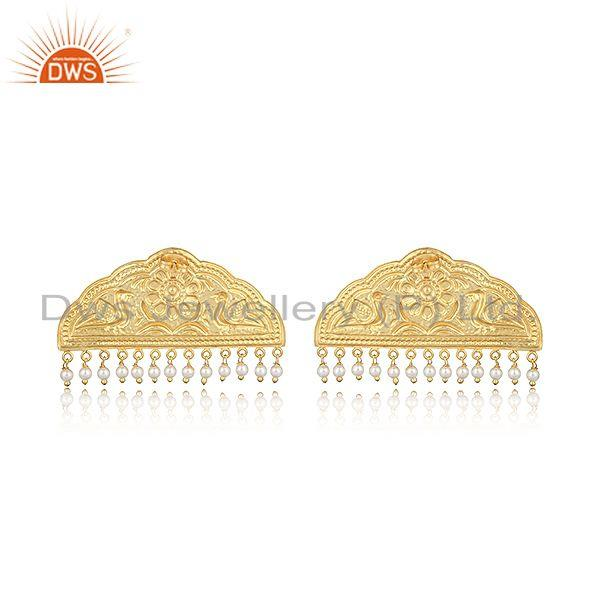 Designer of Handcrafted classic designer gold on fashion earring with pearls