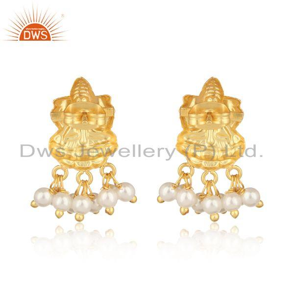 Designer of Goddess design traditional yellow gold fashion earring with pearl