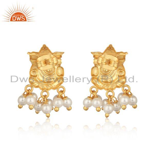 Designer of Ganesha design traditional yellow gold fashion earring with pearl
