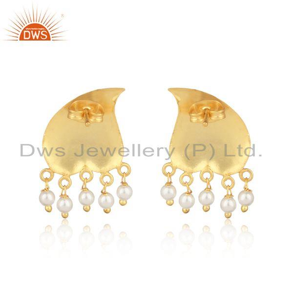 Designer of Textured traditional designer gold on fashion earring with pearls