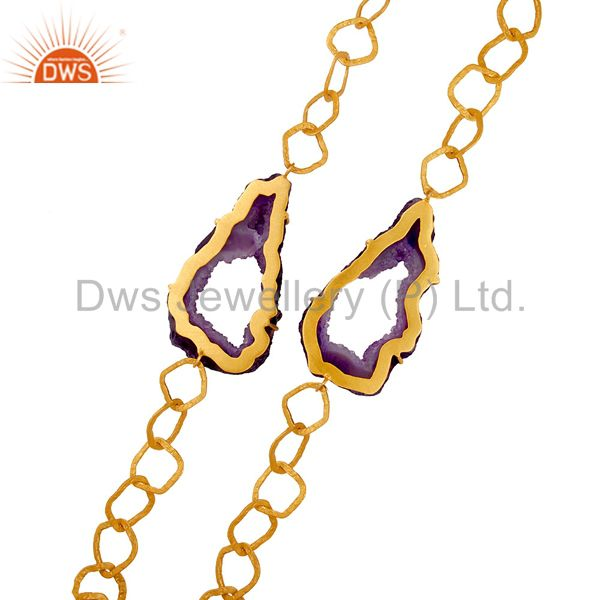 Suppliers Natural Hole Druzy 18K Gold Plated Necklace Handmade Link Chain Fashion Jewelry