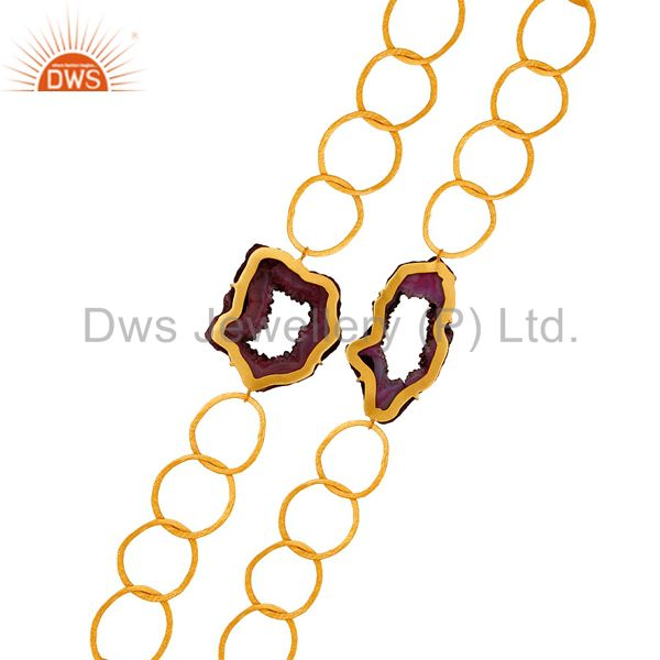 Suppliers Natural Druzy 18K Gold Plated Handmade Necklace with Link Chain Fashion Jewelry