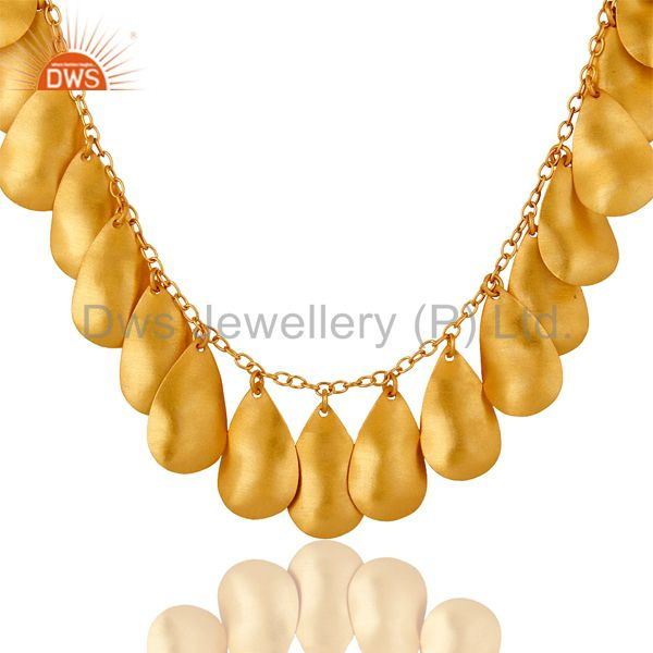 Suppliers 18K Gold Plated Handmade Textured Necklace With White Zircon Fashion Jewelry