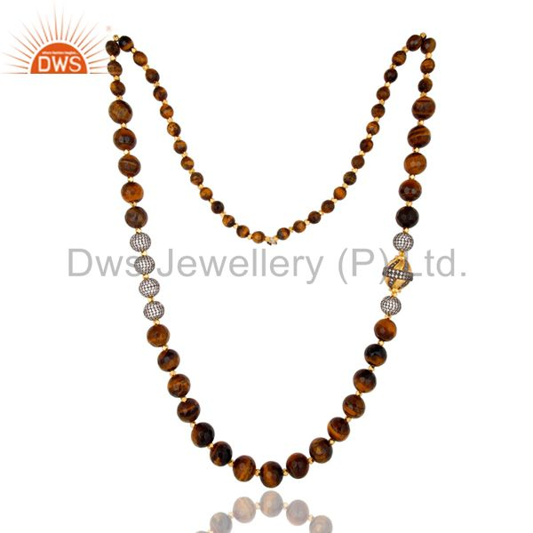 Suppliers 18K Yellow Gold Plated Tiger Eye Gemstone Beaded And CZ Spheres Necklace