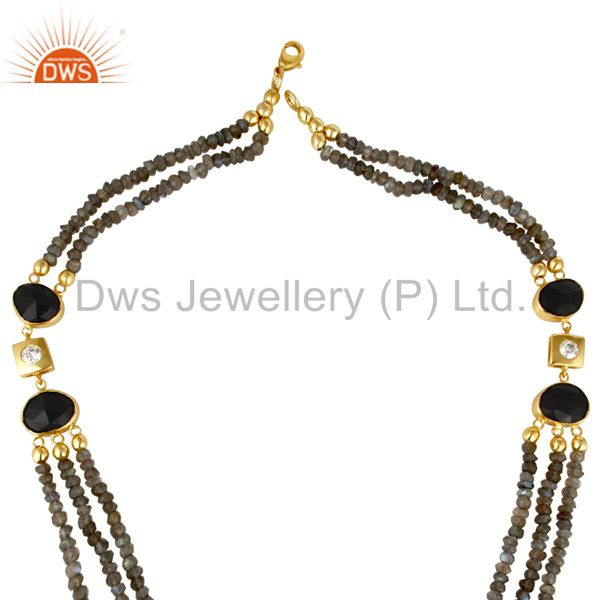 Suppliers 18K Yellow Gold Plated Sterling Silver Labradorite And Black Onyx Beads Necklace