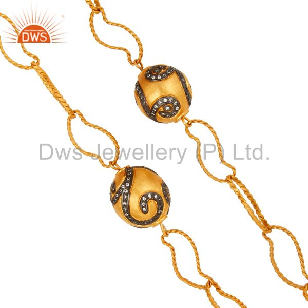 Suppliers 22K Gold Plated Brass Twisted Wire Link Chain Necklace With CZ Spheres