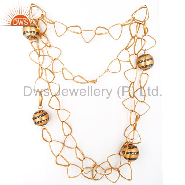 Suppliers Trendy Look Crafted Hammered Matte Polished 18k Yellow Gold GP Link Chain Neckla