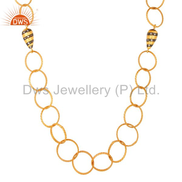 Suppliers Designer 24K Yellow Gold Plated Brass link Chain Fashion Necklace With CZ