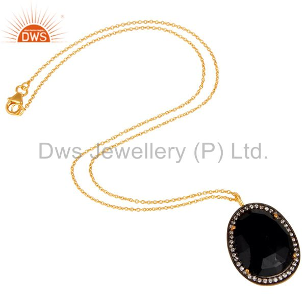 Suppliers 22K Yellow Gold Plated Black Onyx and Cubic Zirconia Pendant With Chain