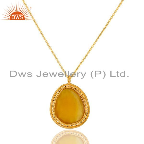 Suppliers 22K Gold Plated Sterling Silver Yellow Moonstone & White Zirconia Chain Pendant
