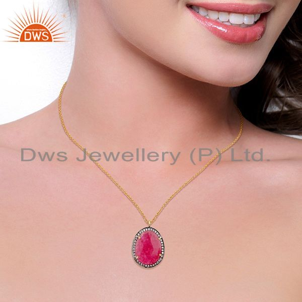 Suppliers 22K Gold Plated Sterling Silver Red Aventurine & White Zirconia Chain Pendant