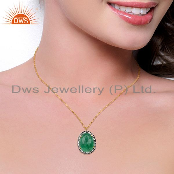 Suppliers 14K Gold Plated 925 Sterling Silver Green Aventurine White Zircon Chain Pendant