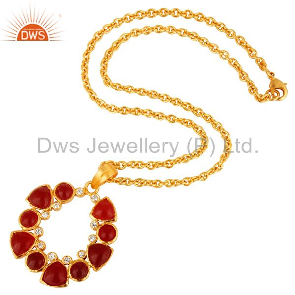 Suppliers Handmade Red Aventurine And CZ Gold Plated Pendant With 16
