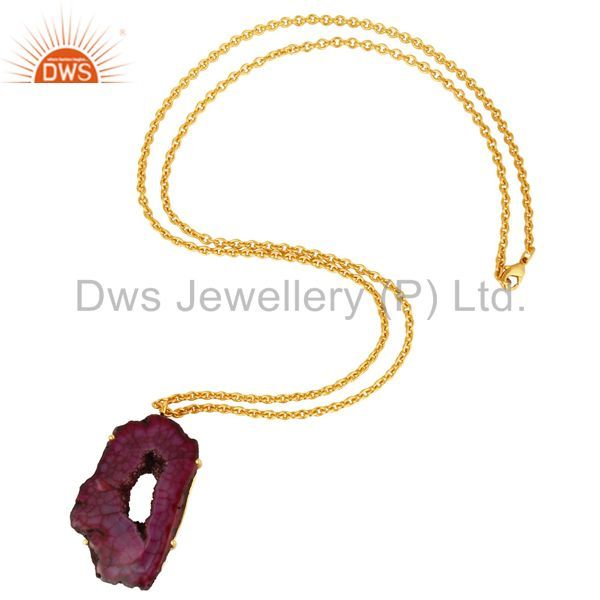 Suppliers 18K Yellow Gold Plated Natural Purple Druzy Agate Prong Set Pendant With Chain