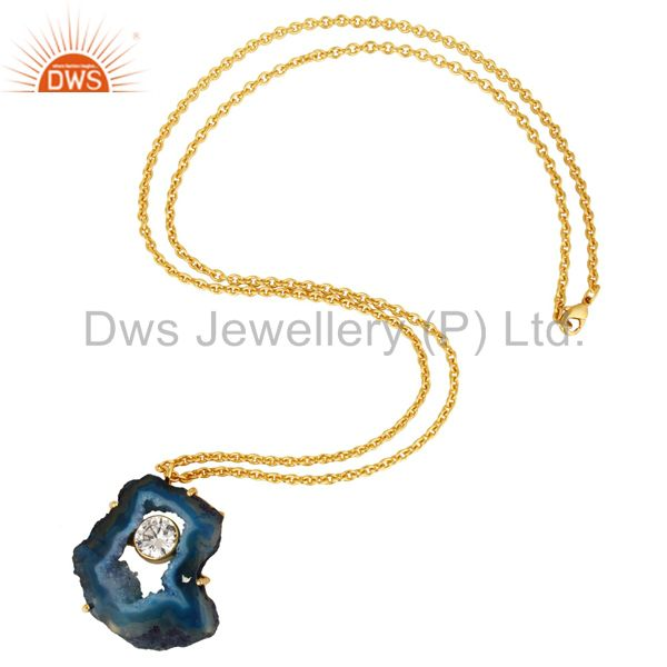 Suppliers Natural Blue Druzy Agate And CZ 18K Gold Plated Pendant With Chain