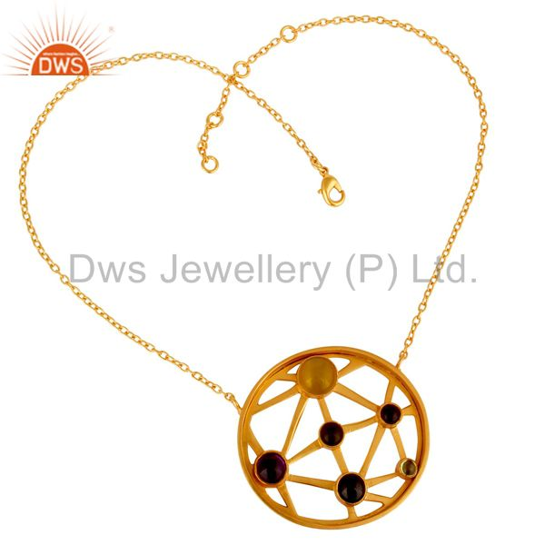 Suppliers 24K Gold Plated Sterling Silver Multi Colored Gemstone Circle Pendant Necklace