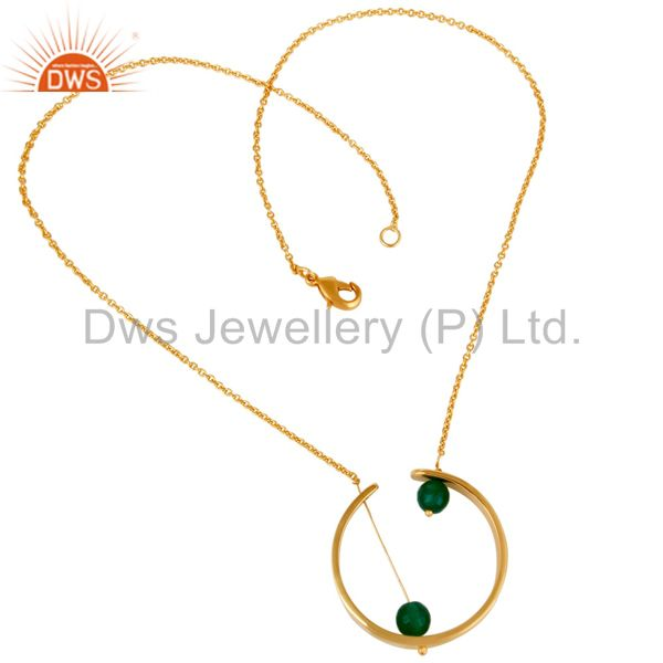 Suppliers 18K Gold Plated Traditional Handmade Green Onyx Faceted Chain Brass Pendant
