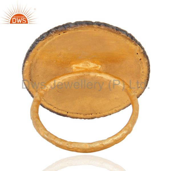 Suppliers Fine Quality Handmade Gold Plated Vintage Symbols Cocktail Ring