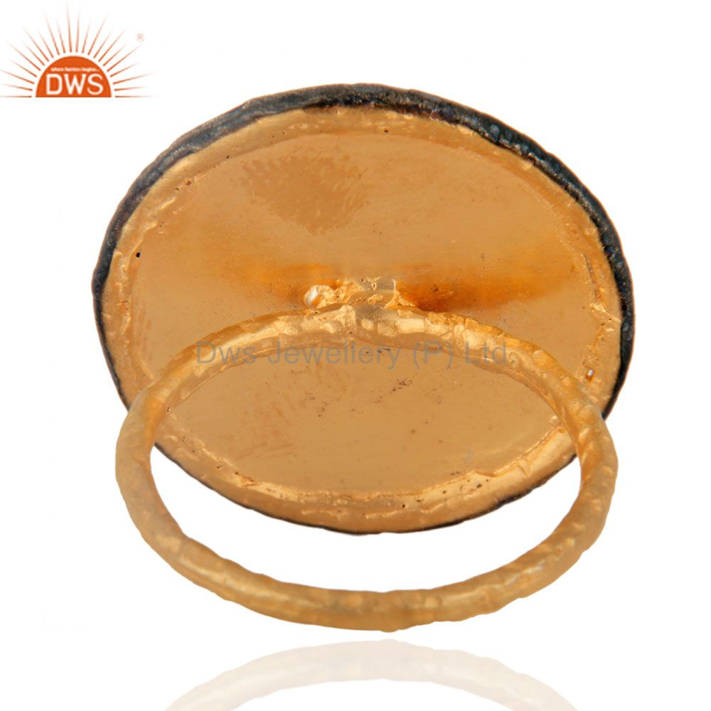 Suppliers Unique Handmade English Vintage Symbol 24K Yellow Gold Overlay Round Circle Ring