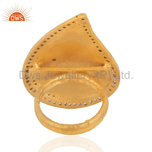 Suppliers 18K Gold Plated Classic Leaf Designer Pave Fake Diamond Fashion Long Finger Ring