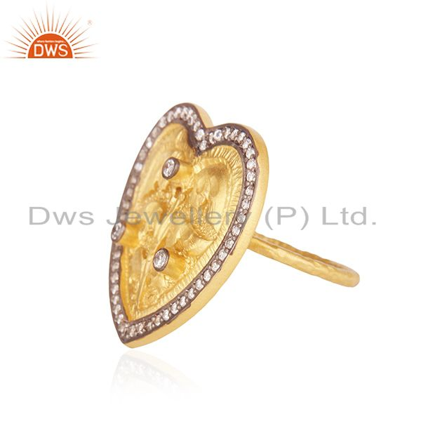 Suppliers 22K Yellow Gold Plated White Cubic Zirconia Heart Cocktail Stackable Ring