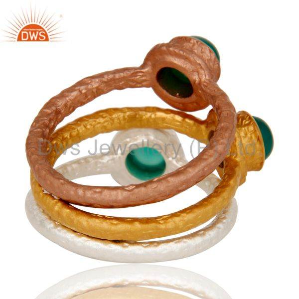 Suppliers 18K Gold Plated Brass Green Onyx Gemstone 3 Piece Stackable Ring Set