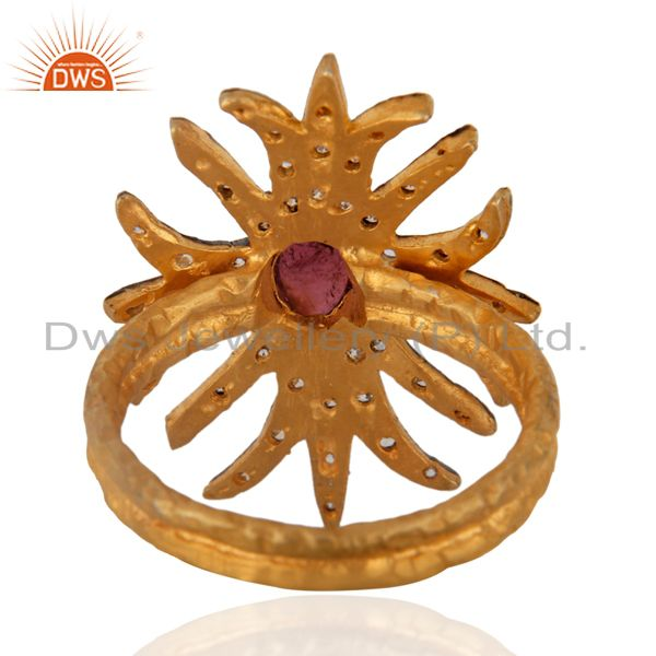 Suppliers 18K Gold Plated Natural Tourmaline Gemstone Antique Victorian Look Fashion Ring